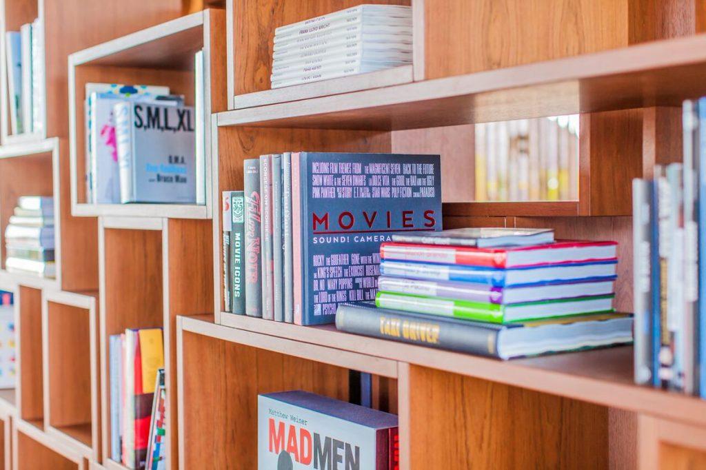 Zuri Zanzibar bookshelves for books and films