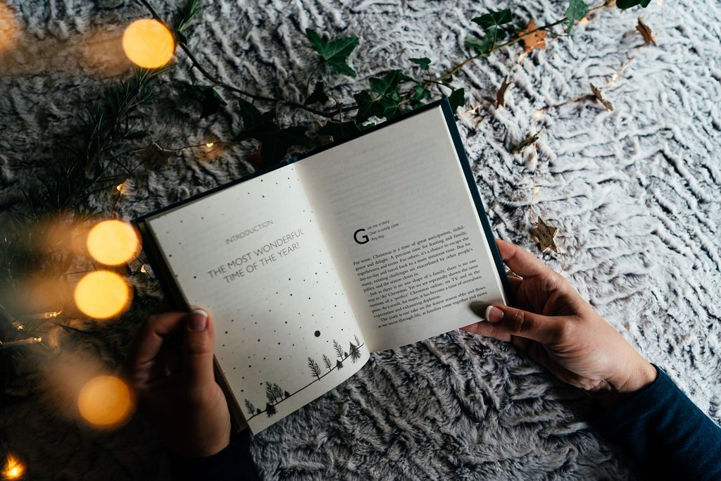 Calm christmas book in holiday setting