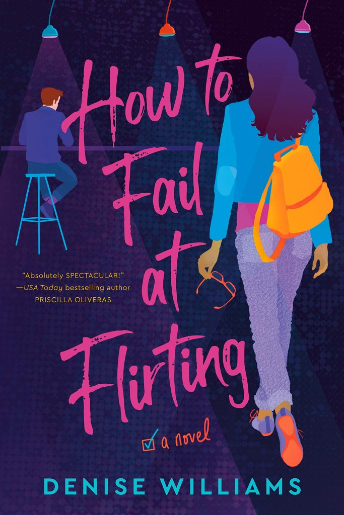 The cover of How to Fail at Flirting featuring and illustration of a woman walking up to a man at a bar.