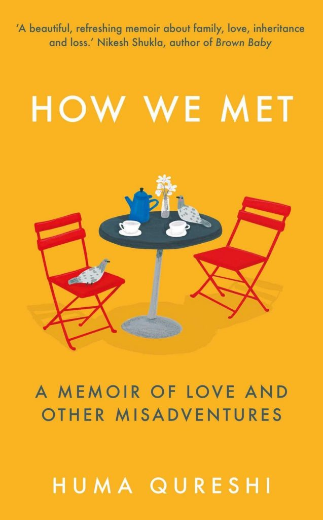 The cover of How We Met, featuring an illustration of two chairs at a table with coffee.