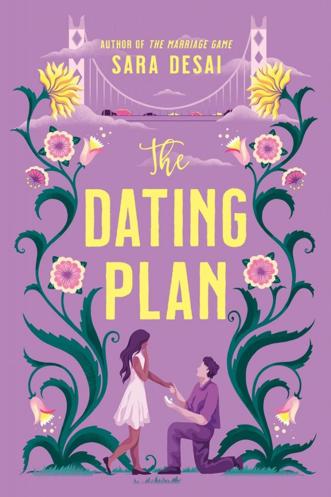 The cover of The Dating Plan featuring an illustration of two people getting engaged surrounded by plants.