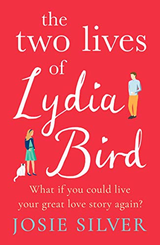 The cover of The Two Lives of Lydia Bird featuring smaller cartoon people and a red background.