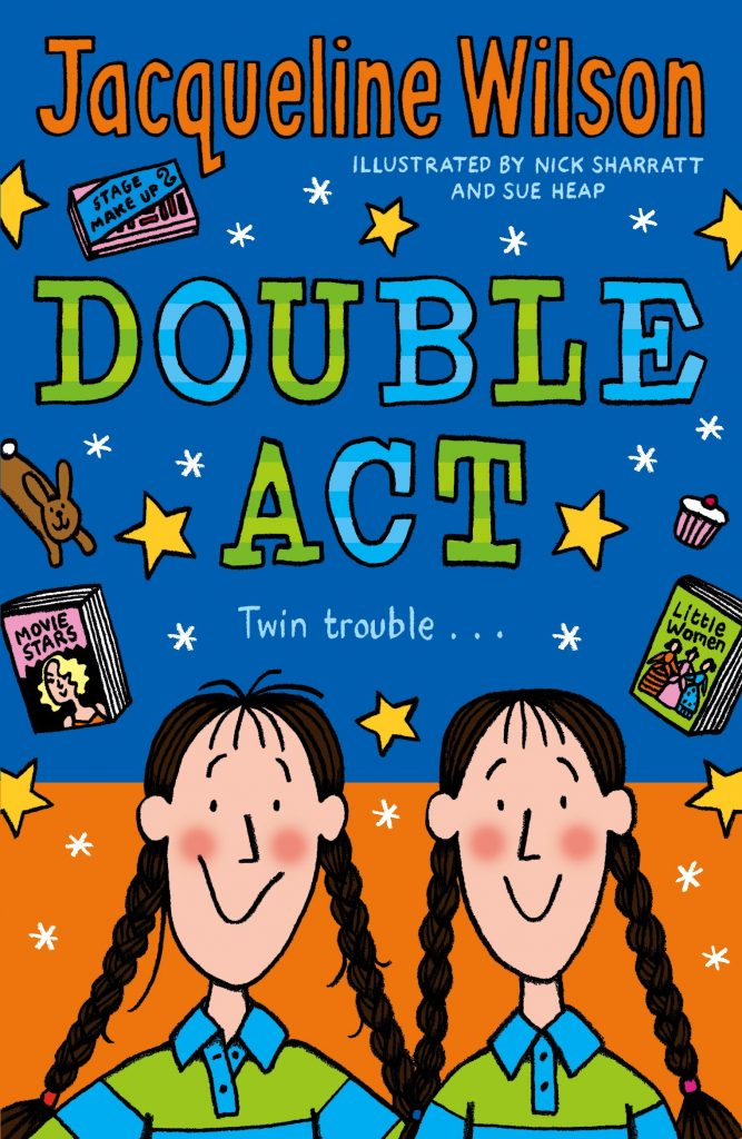 The cover to the children's book Double Act by Jaqueline Wilson. Cartoon twins are in the foreground of the bottom third of the cover, while other cartoon items float on an orange and blue background.