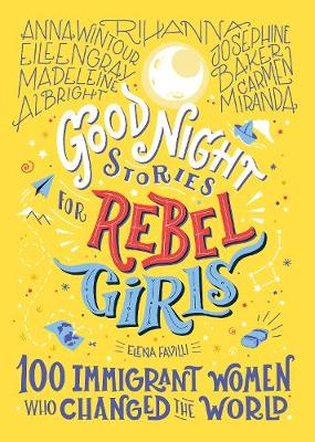 The cover of the the book, Good Night Stories for Rebel Girls. Text on a yellow background featuring a moon drawing and paper boats and planes.