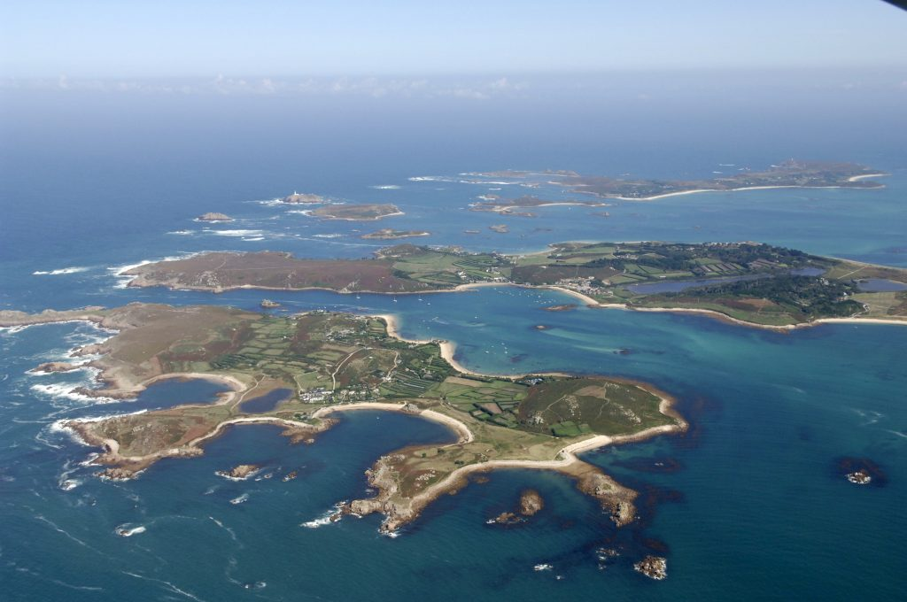 An aerial photo of the Isles of Scilly archipelago.