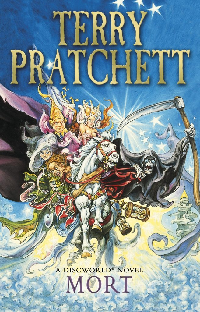 The cover for the book Mort by Terry Pratchett, featuring many of the books characters riding a flying horse, being chased by the grim reaper. The text is gold on the top third of the cover.
