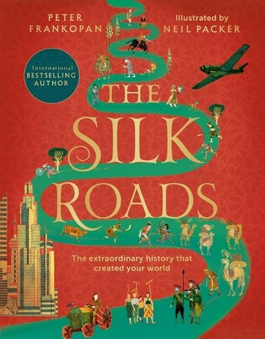 The cover of the book, The Silk Roads. Featuring the title text on a green path that meanders across a red background.
