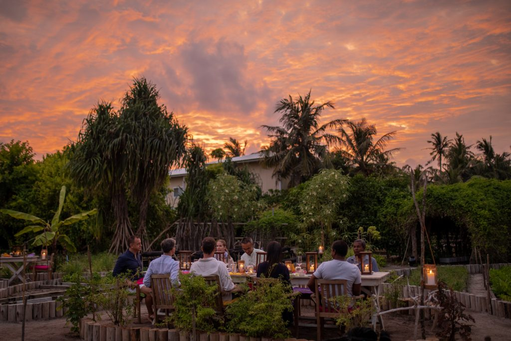 A photograph of of diners in the So Wild restaurant at Soneva Jani.