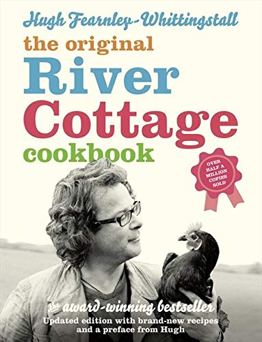 The cover of the cookbook 'The River Cottage Cookbook' by Hugh Fearnley-Whittingstall featuring a multicoloured text over a sepia image of the author holding a chicken.