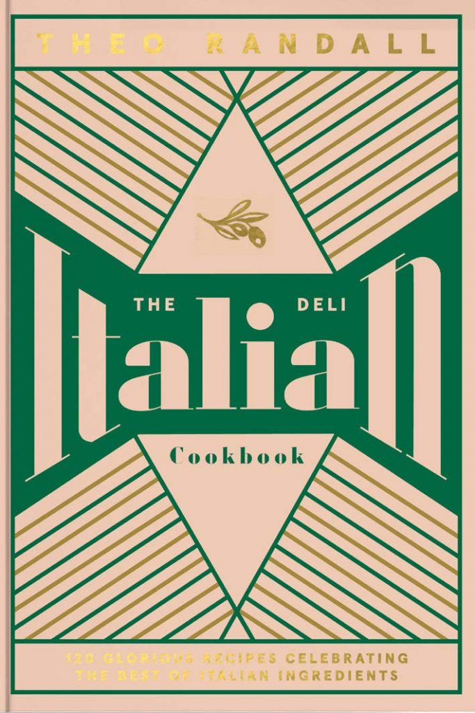 The cover of the 'The Italian Deli Cookbook' by Theo Randall. Featuring blush and gold text on a geometric designed background.