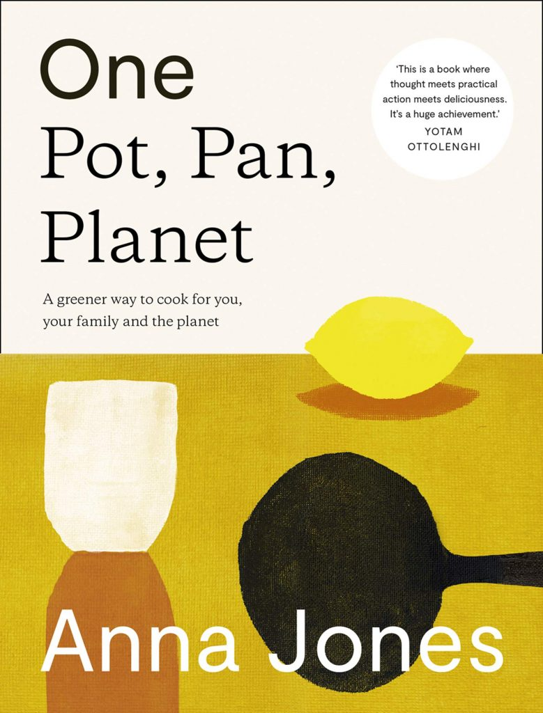 The cover of the 'One Pot, Pan, Planet' cookbook by Anna Jones. I features black text on a beige background. On the bottom half are simple illustrations of a lemon, frying pan, and a cup.