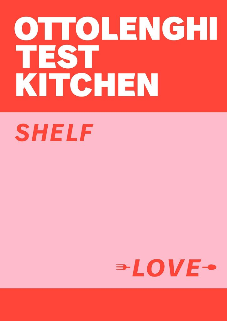 The cover of the cookbook 'Ottolenghi Test Kitchen: Shelf Love' by Yotam Ottolenghi featuring the main title as white text on a red banner, and the subtitle as red text on a pink background.