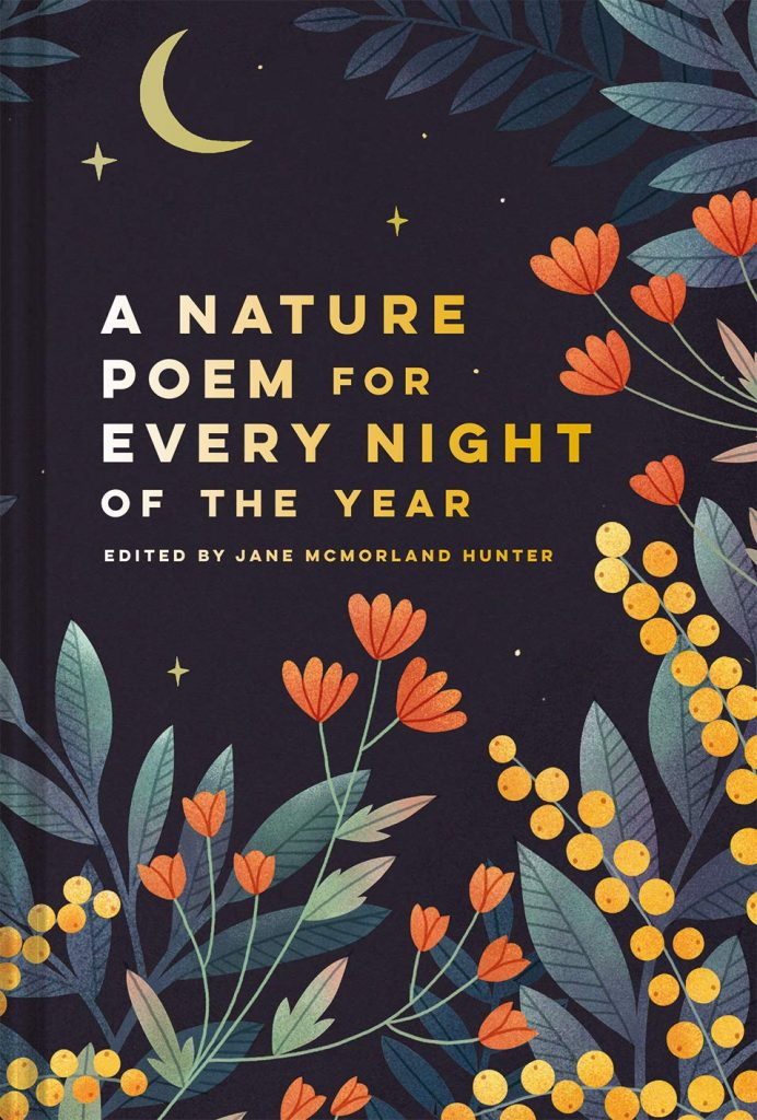 The cover of the book 'A Nature Poem for Every Night of the Year' featuring illustrations of flowers and leaves on a dark starry background.