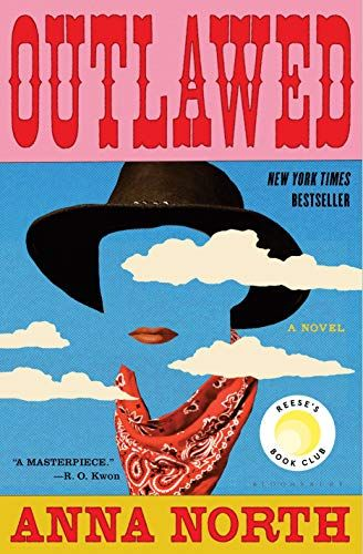 The cover of the book 'Outlawed' by Anna North. It features at the top red text over the top of a pink banner. Under the text there is a silhouette created by a cowboy hat, lipstick, and neckerchief. The silhouette is overlaid by clouds.