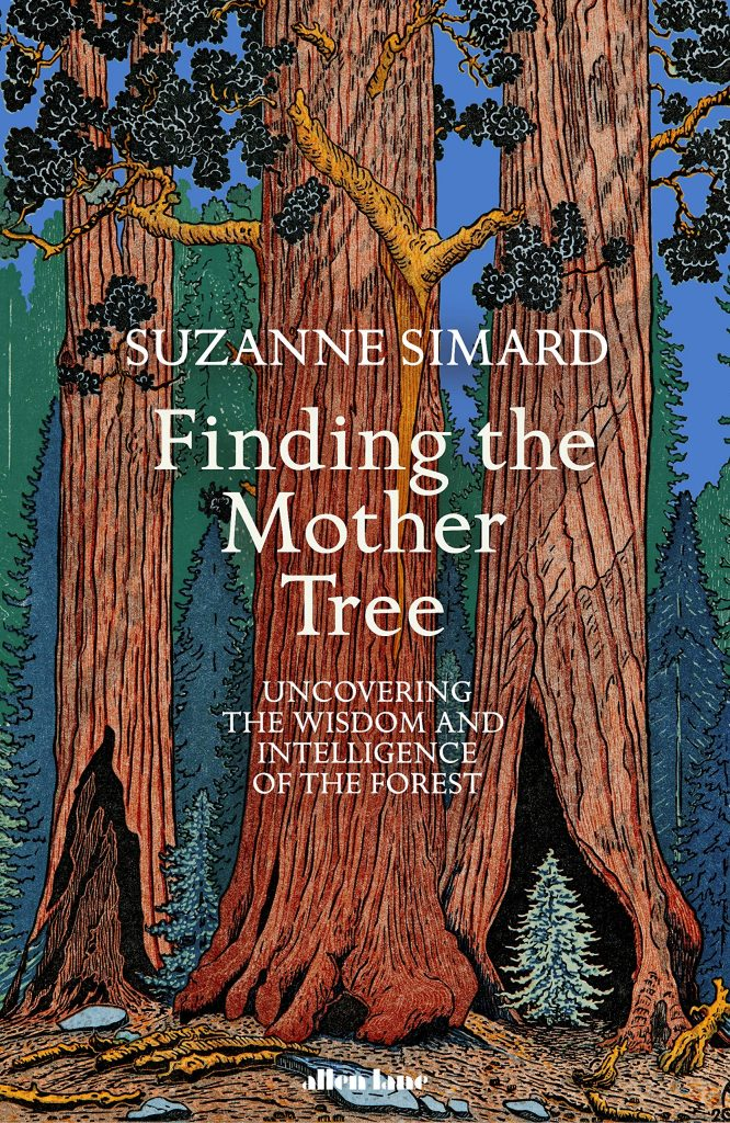 The cover of the book 'Finding the Mother Tree' by Suzanne Simard. It features white text over an illustration of trees in a forest.