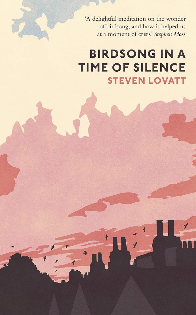 The cover of the book 'Bridsong in a Time of Silence' by Steven Lovatt featuring a simple illustration of birds and clouds over rooftops.