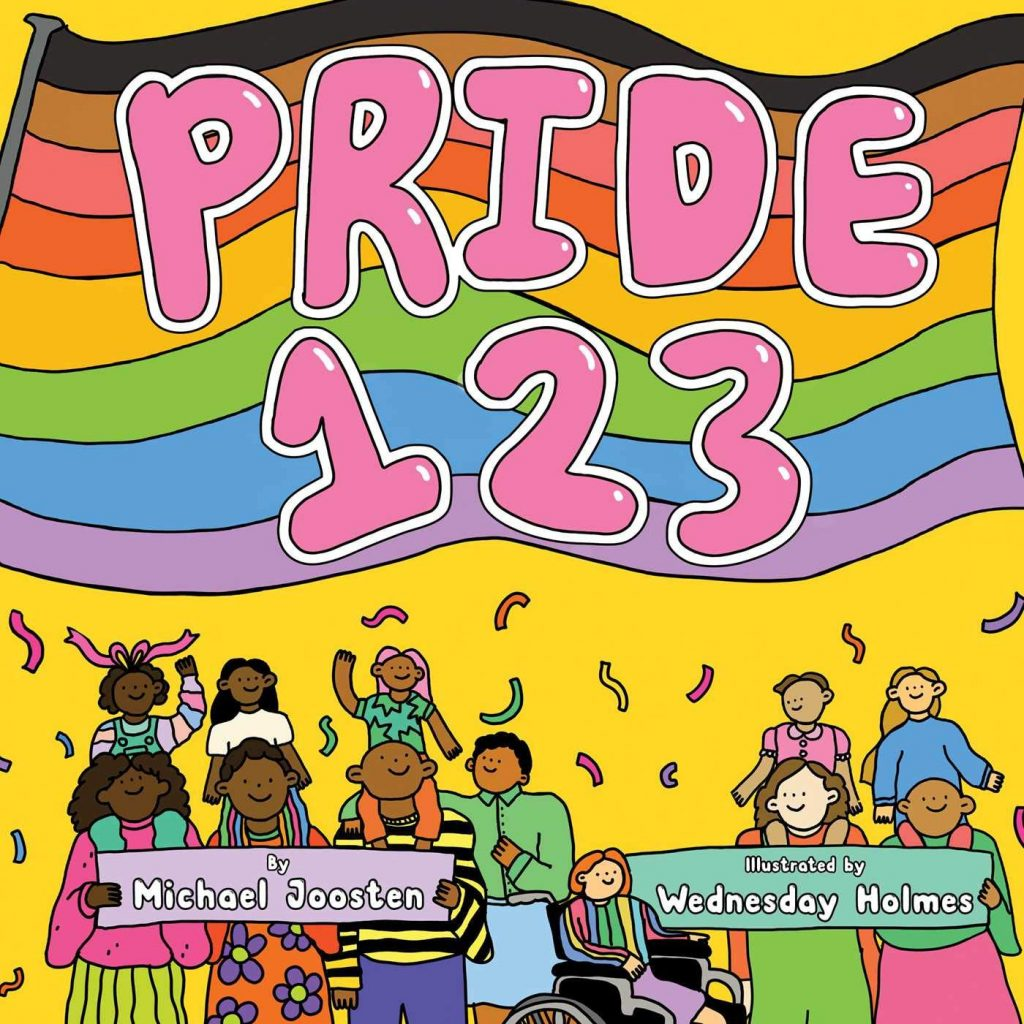 The cover of the book 'Pride 123' by Michael Joosten, it features illustrations of a Pride rainbow flag above illustrated families.