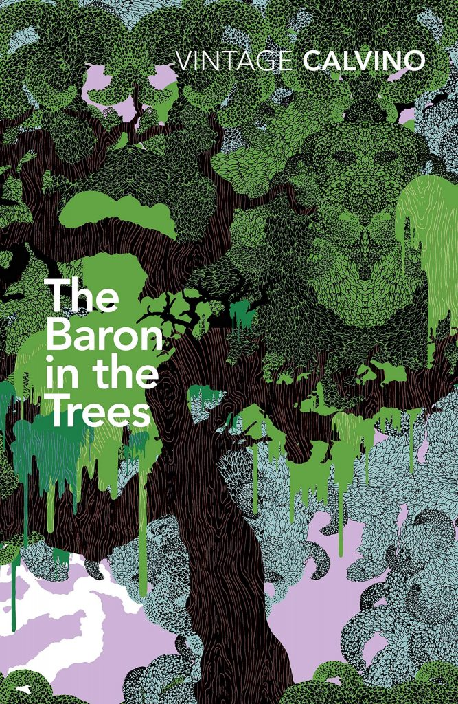 The cover of the book 'The Baron in the Trees' by Italo Calvino. It features white text over an illustration of a tree.