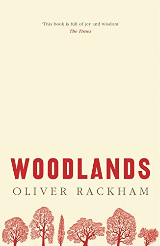 The cover of the book 'Woodlands' by Oliver Rackham. It features red text and red illustrations of trees on a cream background.