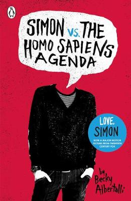 The cover of the book 'Simon Vs The Homo Sapiens Agenda' featuring black text in a speech bubble over an illustration of a mans body, all on a red background.