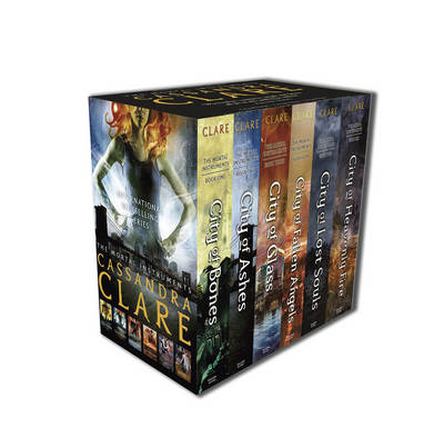 A photograph of the box set of 'The Mortal Instruments' by Cassandra Clare.