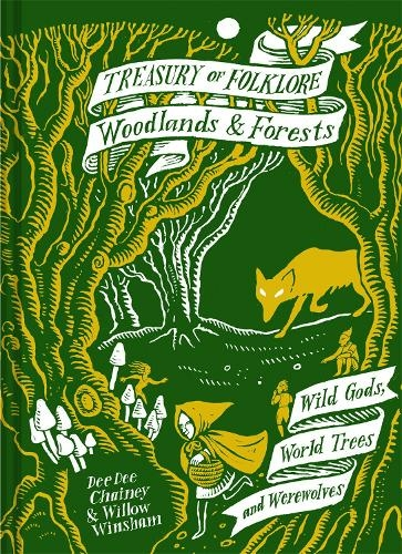 The cover of the book 'Treasury of Folklore - Woodlands & Forests' it features the title text in a white banner above a line illustration of the little red riding hood fairy tale.