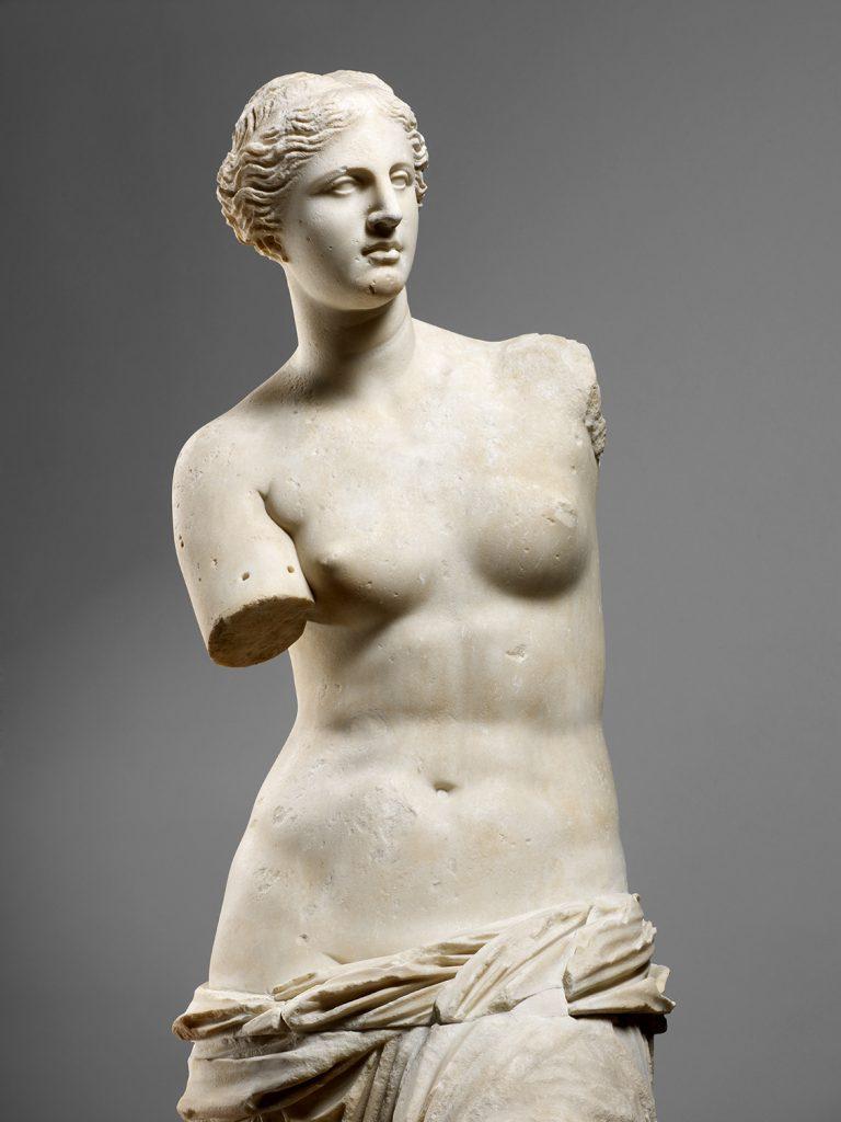 A photograph of the Venus de Milo at the Louvre in Paris. Art