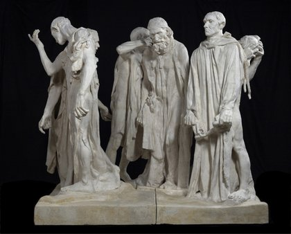 A photograph of Rodin's The Burghers of Calais in the original plaster. Art