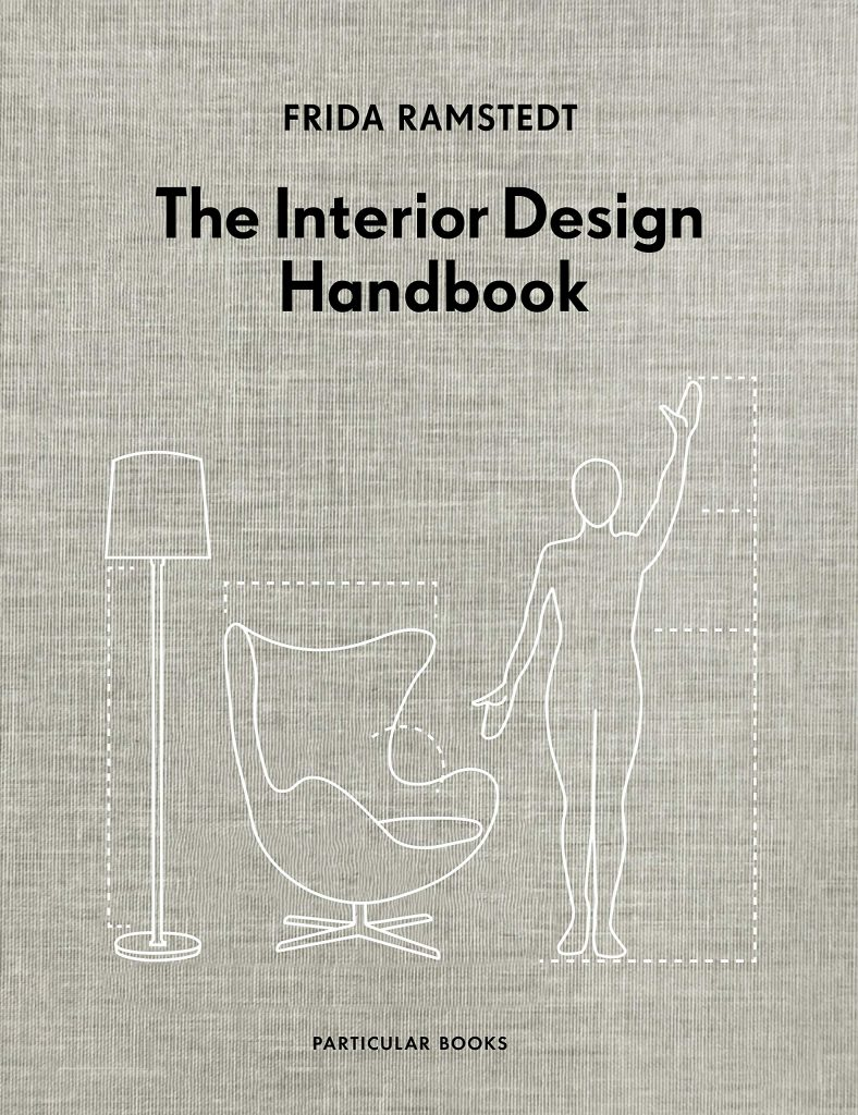 The cover of the book 'The Interior Design Handbook' by Frida Ramstedt featuring black text on a brown paper bag-like textured background. Below there is an outline illustration of different elements of home decor.