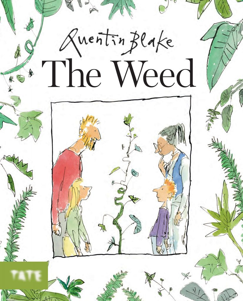 The cover of the book 'The Weed' by Quentin Blake featuring an illustration of a family grouped around a weed in the center of the page.