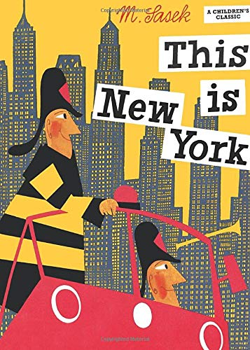 The cover of the book 'This is New York' by Miroslav Sasek featuring cartoon firefighters against a cartoon backdrop of the city.