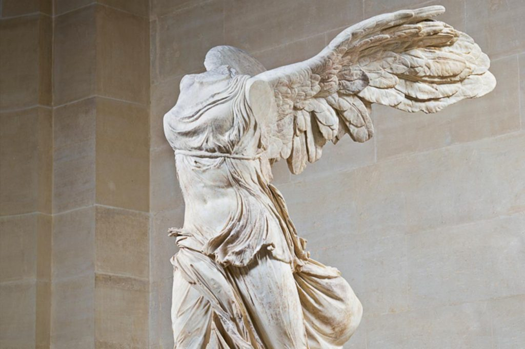 A photograph of the Winged Victory of Samothrace sculpture. Art