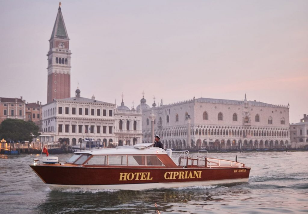 A photograph of the Belmond Hotel Cipriani's boat on the Grand Canal.