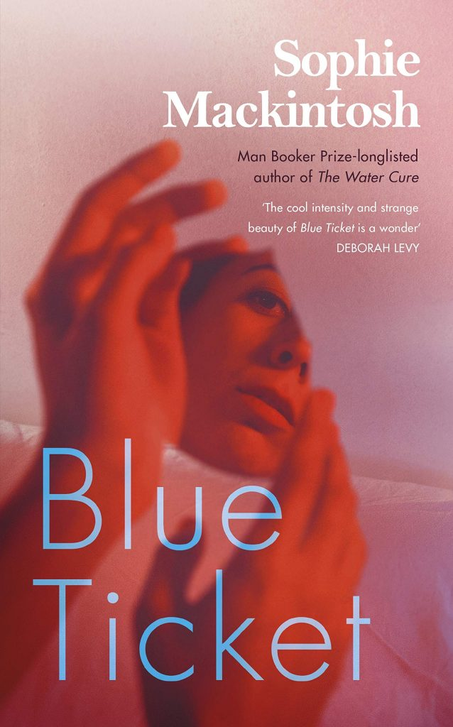 The cover of the book 'Blue Ticket' featuring blue text over a red photograph of a woman's reflection in a shard of mirror.