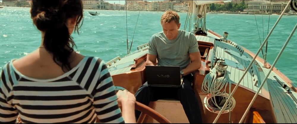A still from the film 'Casino Royale' showing Daniel Craig and Eva Green on a boat in Venice.