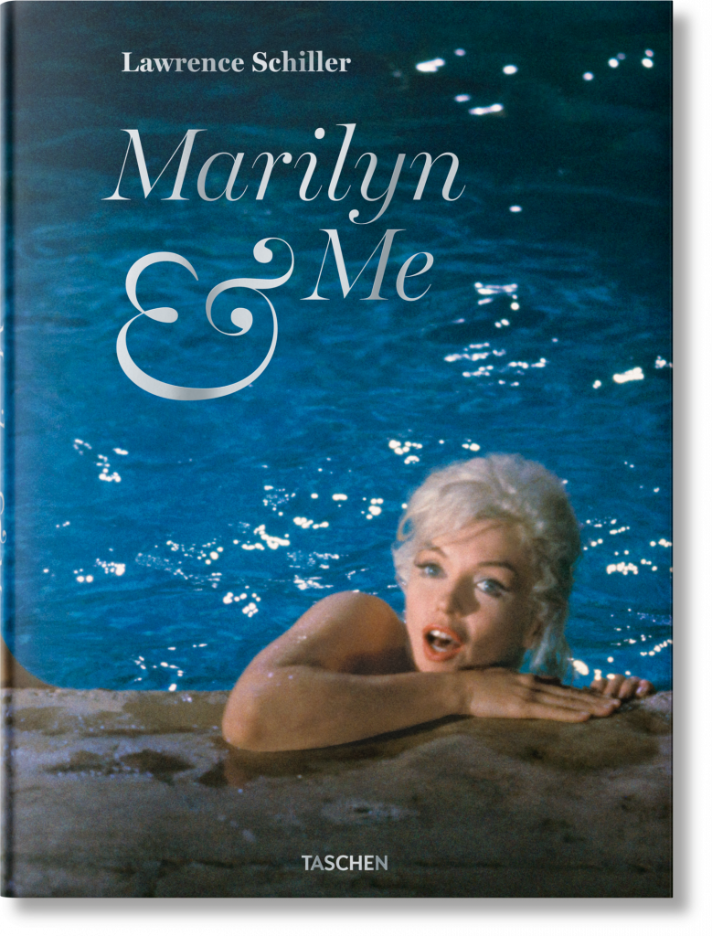 The cover of the book 'Marilyn & Me' by Lawrence Miller featuring white text over an image of Monroe in a pool.