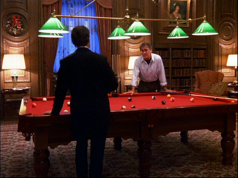 A still from the film 'Eyes Wide Shut' showing the snooker scene in The Lanesborough Hotel.