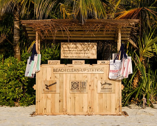 A photograph of one of the beach clean up huts set up in Zanzibar.