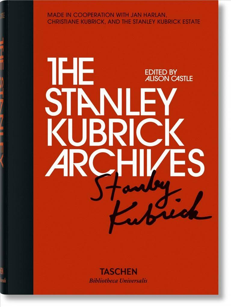 The cover of the book 'The Stanley Kubirck Archives' by Allison Castle. It features white text on a red background above a print of Kubrick's signature.