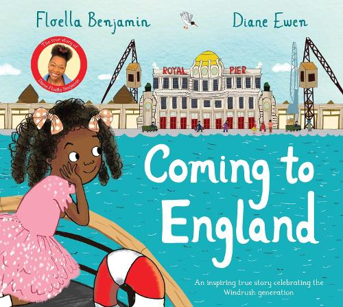 The cover to 'Coming to England' by Floella Benjamin featuring a illustrated young black girl looking over the sea towards London.