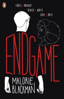 The cover of 'Endgame' by Malroie Blackman featuring a black and white illustration of a man a woman over laid by red lettering.